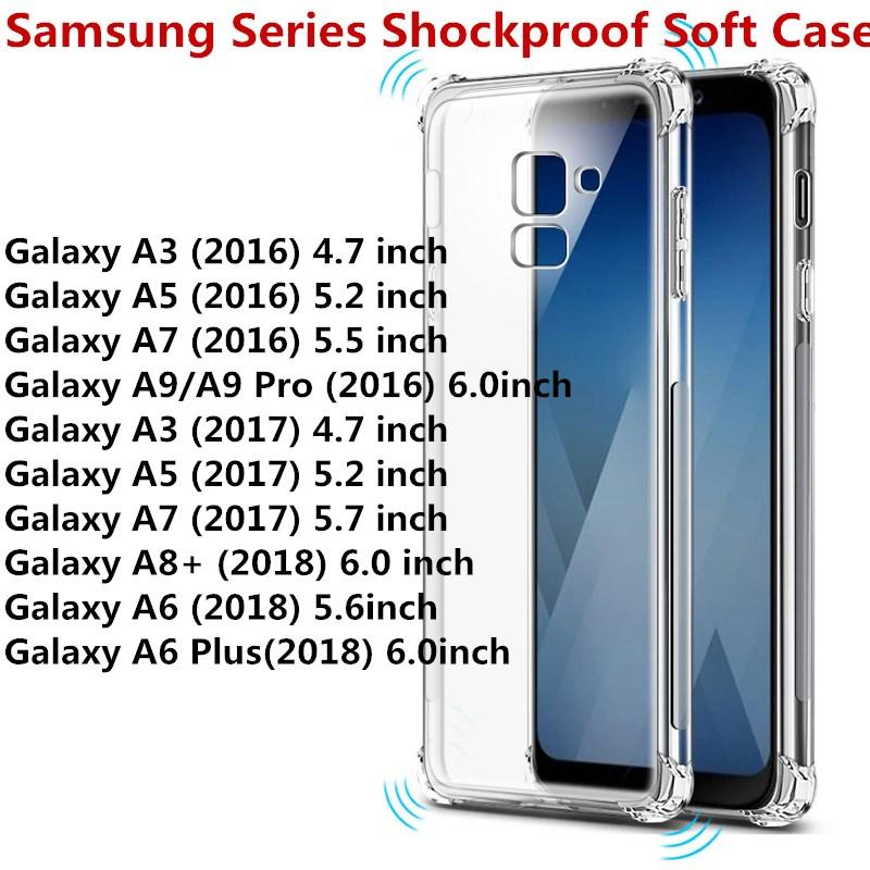 buy online 0063c 4055e For Samsung Galaxy A6 2018 A6 Plus 2018 A8 Plus 2018 A3 A5 A7 2016 2017 A9  A9 PRO Transparent Anti-knock Clear Shockproof Soft Case