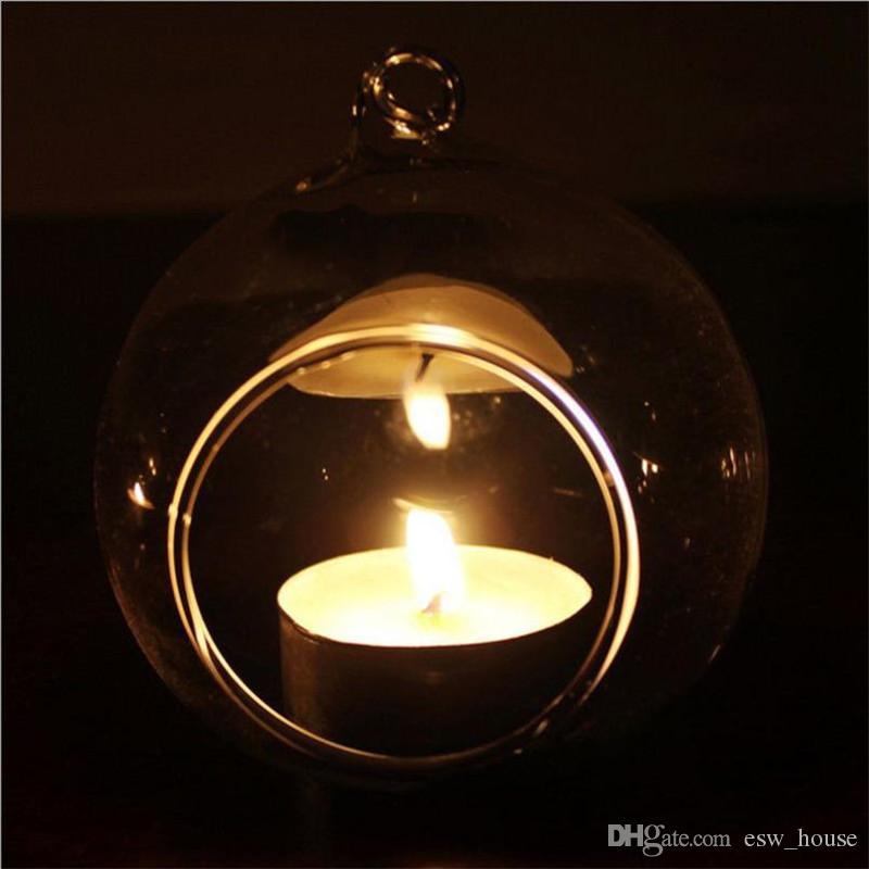 الكريستال والزجاج شنقا شمعة حامل شمعدان حفل زفاف عشاء ديكور المنزل جولة زجاج الهواء فقاعة مصنع كرات الكريستال