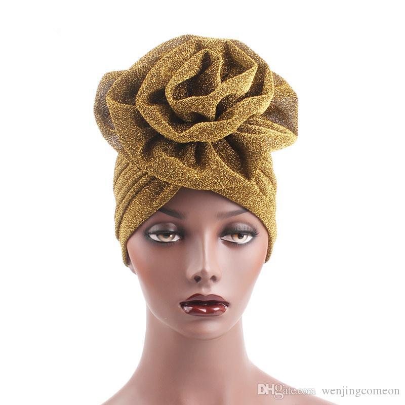 Nuovi cappelli di modo delle donne Ruffle Turban Headwear con Big Poplin Flower Cocktail Wedding Tea Party Hat Indian Turban Hats
