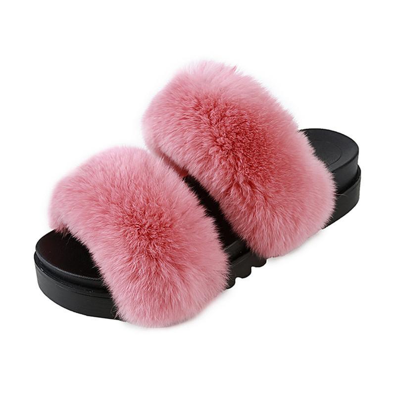 2017 platform fur slides creepers summer autumn sandals women beach flip flops soft casual slippers woman colors slip on flats