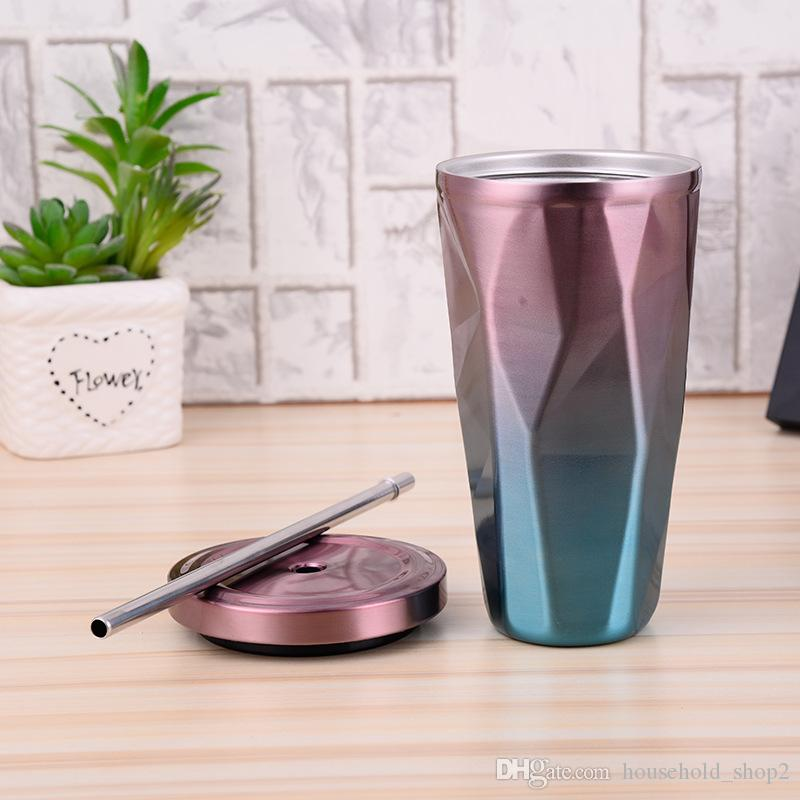 480ML stainless Steel Mugs Irregular double wall vacuum cups Auto Milk Coffee Tea Cup Drinkware With Straw And lids