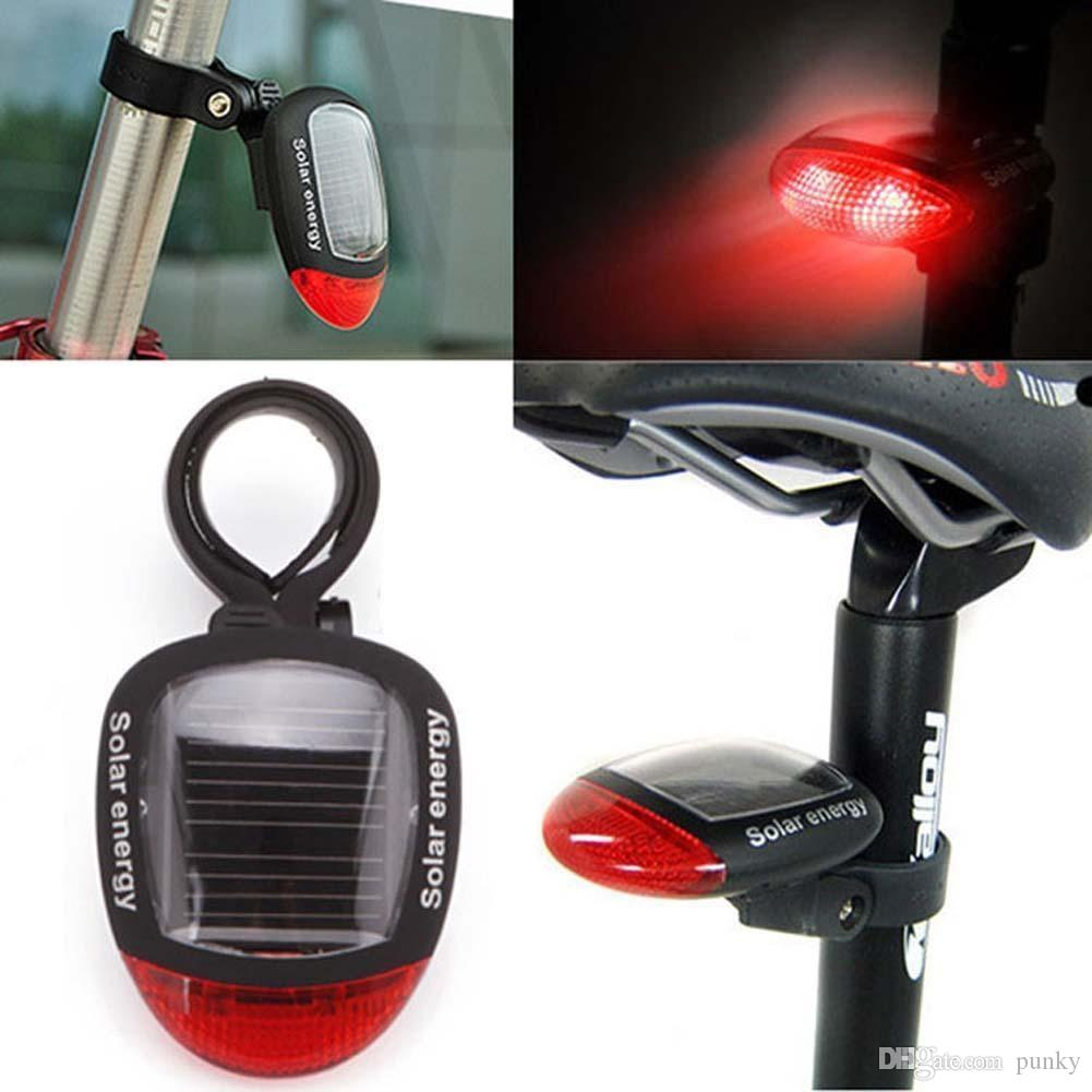 Sport MTB Cycling Tail Rear Red Light Solar Power Bike Bicycle LED Lamp Seatpost Taillight with Clamp