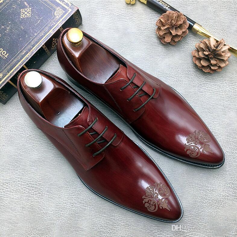 507df43ab Compre Homem De Luxo Sapatos De Casamento Masculino Vestido De Couro  Genuíno Partido Oxfords Dedo Apontado Dos Homens Formais Apartamentos  Artesanais 1H54 ...