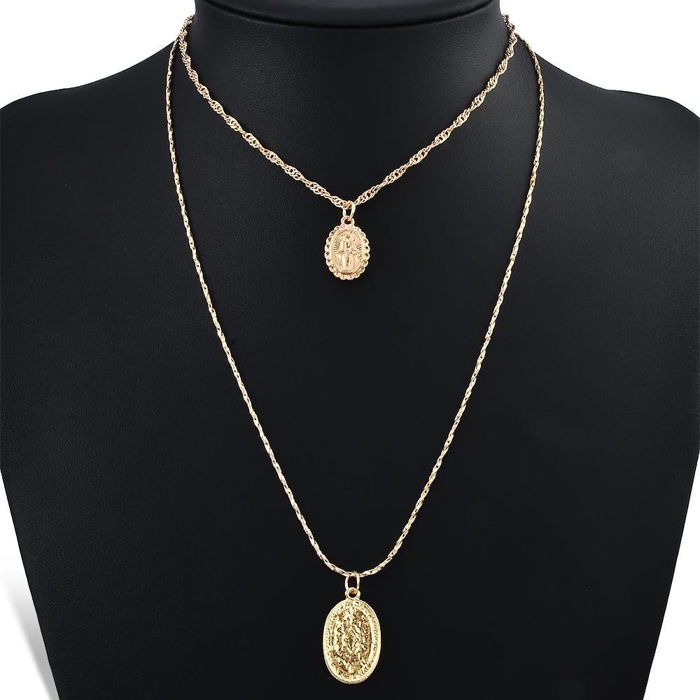0188dce45fa4 Compre Moda Moda Religiosa Estilo Multi Cadena Collar Oro Vintage Virgen  María Colgante Collar Para Mujer Collar Corto 2 Unids   Set A  8.45 Del  Marina1213 ...