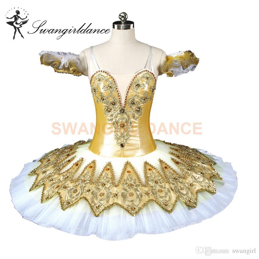 b4a74a4ee 2019 Adult Classical Ballet Tutu Gold White Pancake Platter Tutu ...