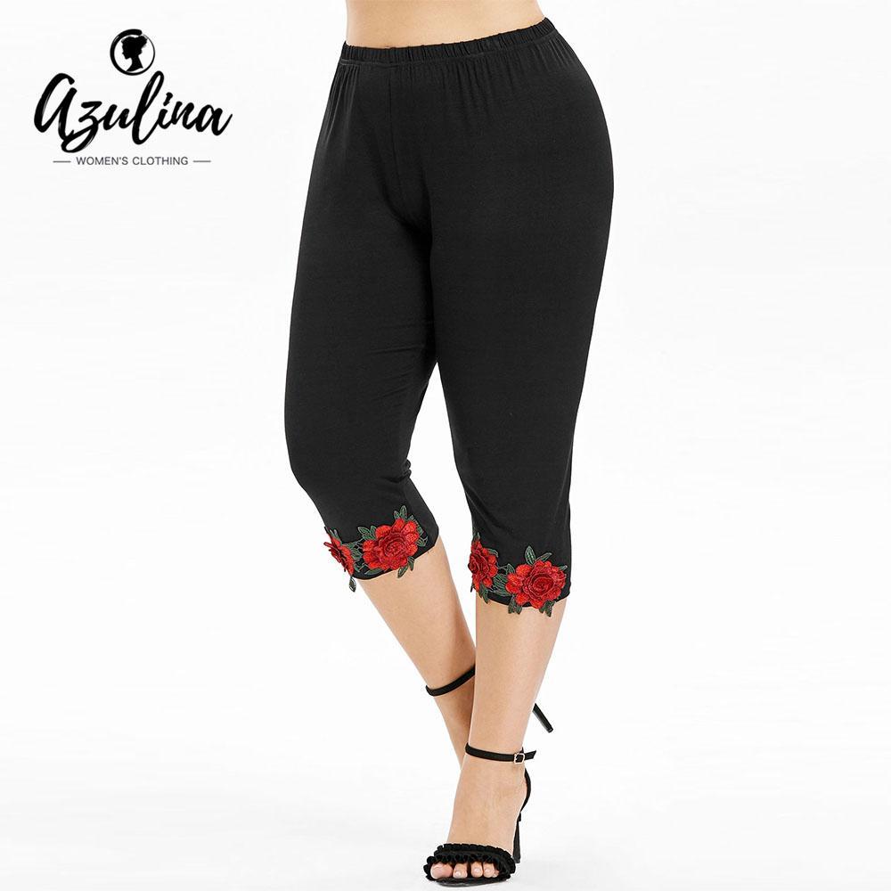 dcf6e5d0e3318c 2019 AZULINA Plus Size High Waist Cropped Leggings Women Pant Capri Casual  Black Flower Appliques Pencil Pants 2018 Womens Trousers From Honjiao, ...