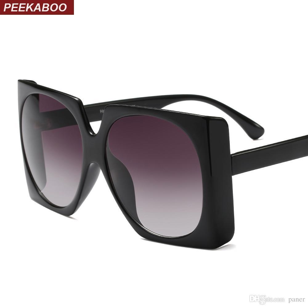 2b8a0ebb51d27 Compre Peekaboo Quadrado Oversized Óculos De Sol Das Mulheres Preto Amarelo  Branco Grande Quadrado Óculos De Sol Para As Mulheres Do Sexo Feminino  Uv400 De ...