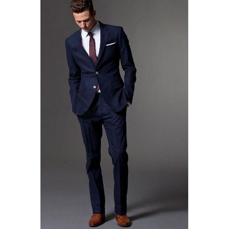 Compre Traje Azul Marino Homme Esmoquin Para Hombre Novio Traje Para Hombre  Con Pantalones De Boda Trajes De Negocios Para Hombres Vestido De Espuma  Terno A ... a8ec819ce1d0