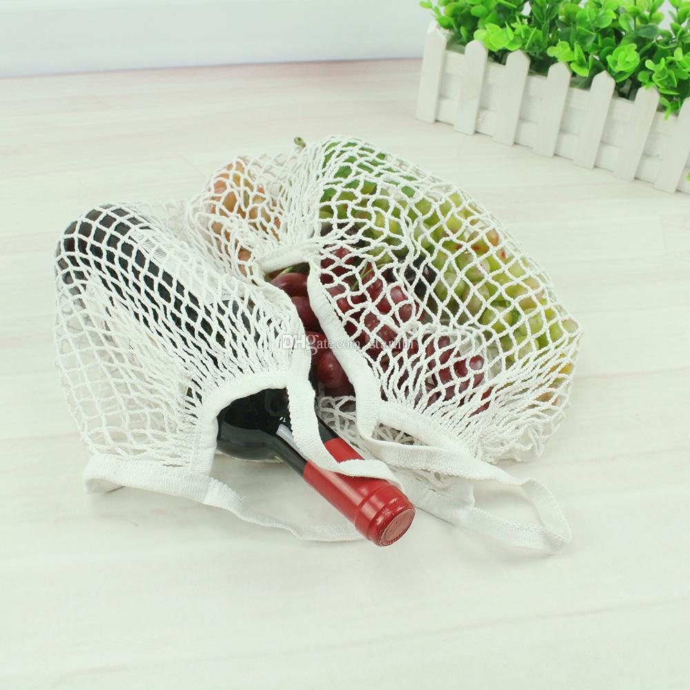 Stringa riutilizzabile Shopping Ortofrutta Sacchetto della spesa Shopper Tote Mesh Net Borsa a tracolla in cotone intrecciato Hand Totes Borsa di stoccaggio a casa WX9-365