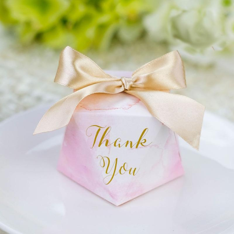 Pink Marble Diamond Shape Candy Box Big Ribbon Sweet Gift Boxes