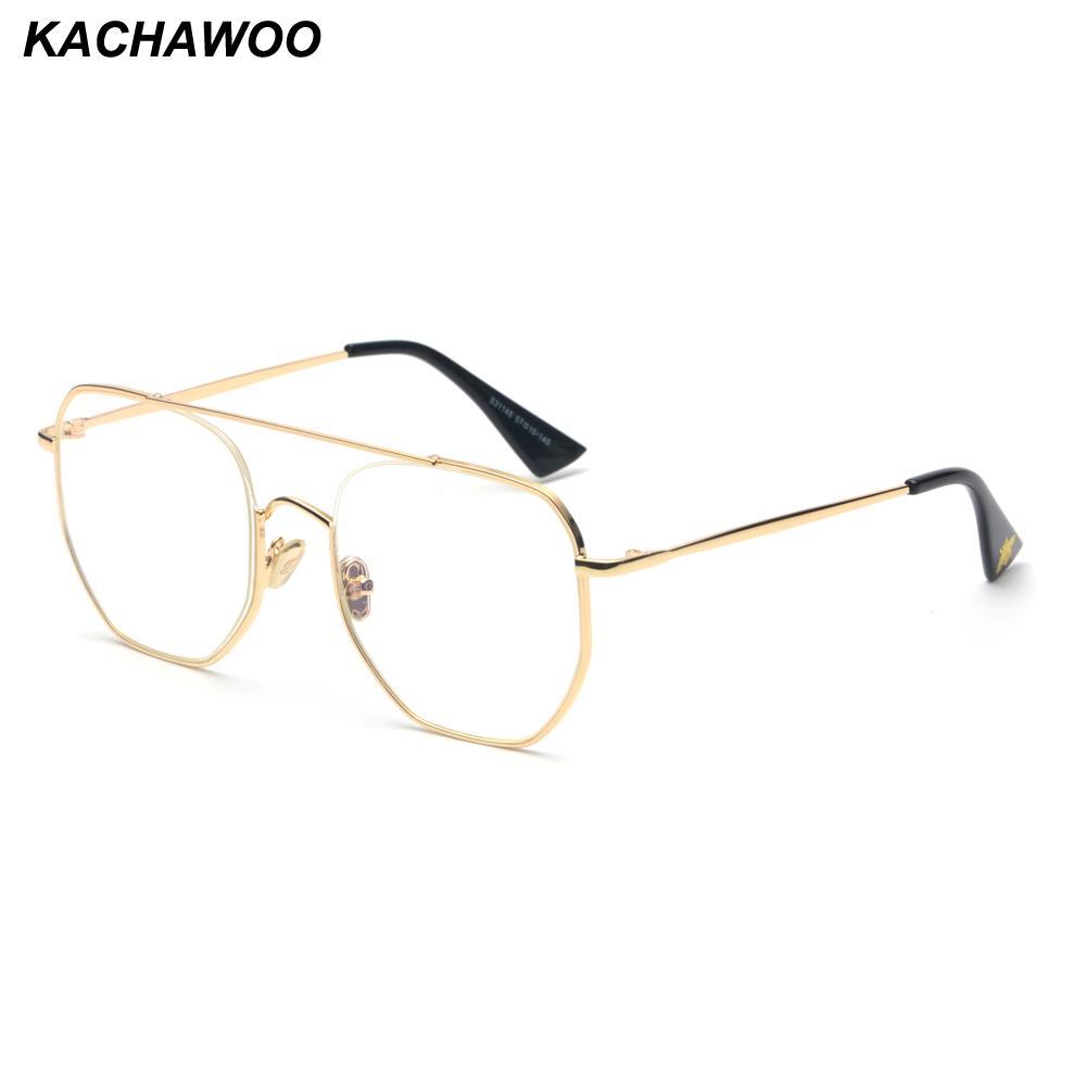 aee2f42f844e Compre Kachawoo Venta Al Por Mayor 6 Unids Hombres Gafas Marcos Cuadrados  Mujeres Semi Sin Montura De Oro Gafas Superiores Planas Marco De Metal  Regalos De ...