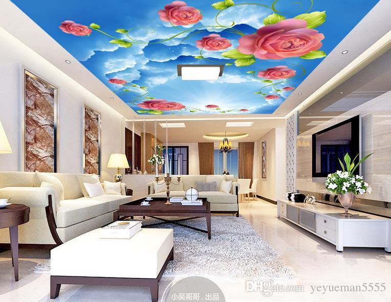 Custom Ceiling Mural Wallpaper 3d Sky Rose Day Living Room Bedroom