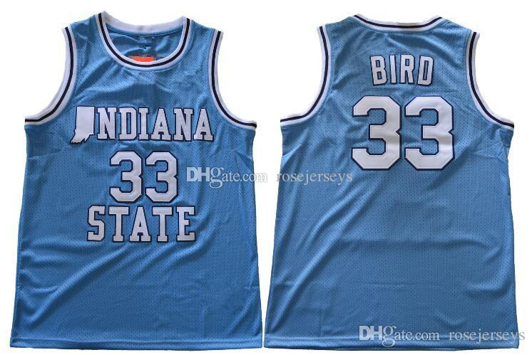 372be9bb48f Indiana State Sycamores  33 Bird Retro Blue Jersey ISU Men s White Larry  Green Springs Valley Black Soul Swingman College Basketball Jerseys