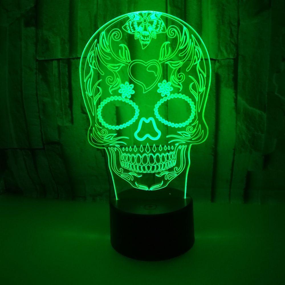 купить оптом 3d Led Night Light 7 изменение цвета лампы череп