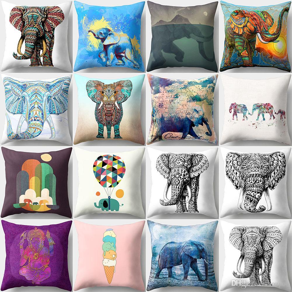 fashion 16 designs elephant 4545cm household fabric cushion covers bedroom set christmas gifts home decor party decoration custom patio cushions cheap - Christmas Elephant Outdoor Decoration
