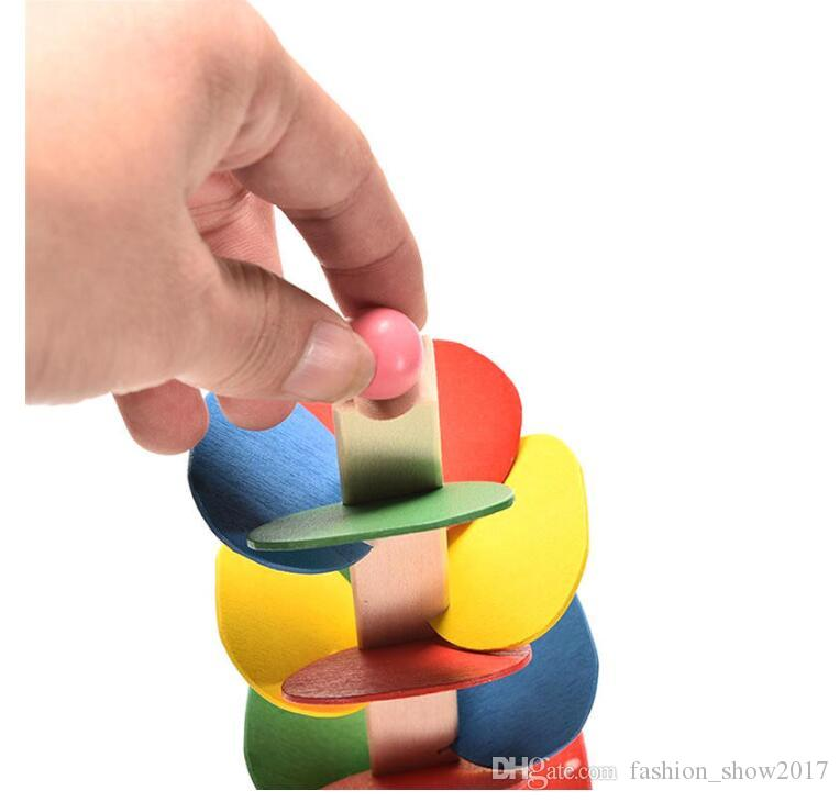 Árbol de madera Juego de pista de bolas de mármol Bebé Montessori Blocks Niños Inteligencia Educativa Modelo de juguete de construcción
