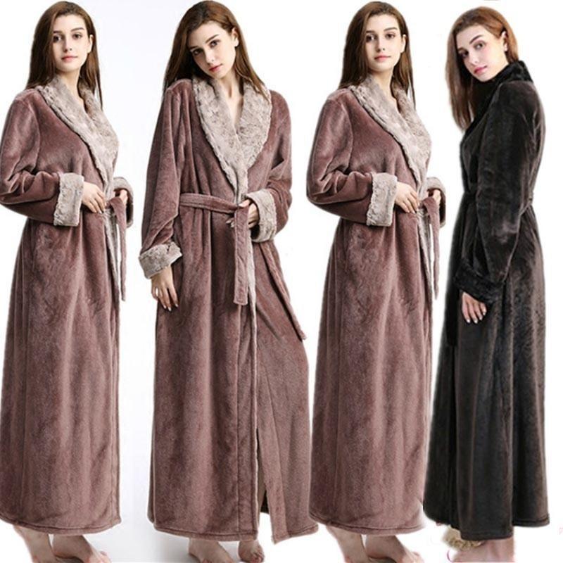 e423535585 2019 Fashion Woman Long Robe Winter Thick Warm Robes Coral Fleece Sleepwear  BathRobe Felmale Hotel Spa Plush Bath Robe Nightgown From Christinaaa