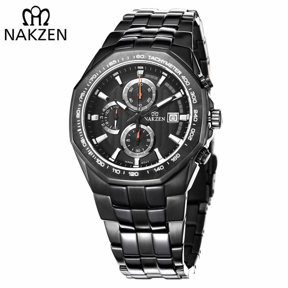 6275e8fcabb Compre NAKZEN Homens De Negócios Relógios Desportivos Homem Multifunções  Relógio De Pulso De Quartzo Masculino À Prova D  Água 10 Bar Edif Relogio  Masculino ...