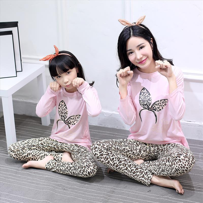 a7b4d42a17 Mother Daughter Pajamas Suits Animal Butterfly Mommy And Me Sleepwear  Cotton Long Sleeve Sets Girl Clothes+Pants Sleepwear Pink Matching Family  Outfits For ...