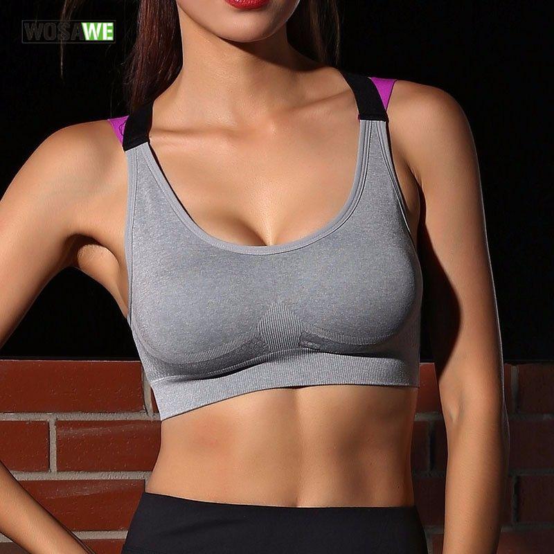 6d6825e55e WOSAWE Yoga Push Up Sports Bra for Womens Gym Running Padded Tank ...