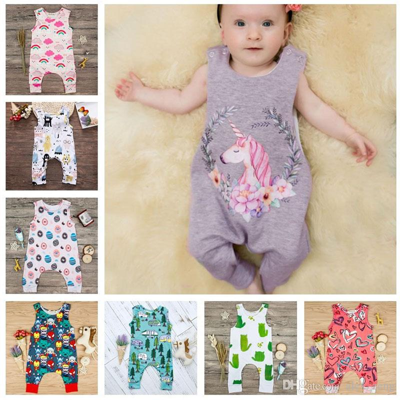 1583edcaa3b 2019 Multi Styles Baby Printed Rompers Boys Girls Rainbow Floral Cactus  Cartoon Rompers Newborn Infant Boy Girl Romper Vest Jumpsuits Playsuits  From ...
