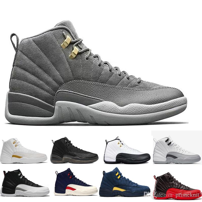 f63ddfe67adfb3 Cheap New Branded 12 12s Men Women Basketball Shoes All White Black Grey  Playoffs Flu Game Taxi Gamma Blue Gym Red Sport Sneakers Canada 2019 From  Primeknit ...