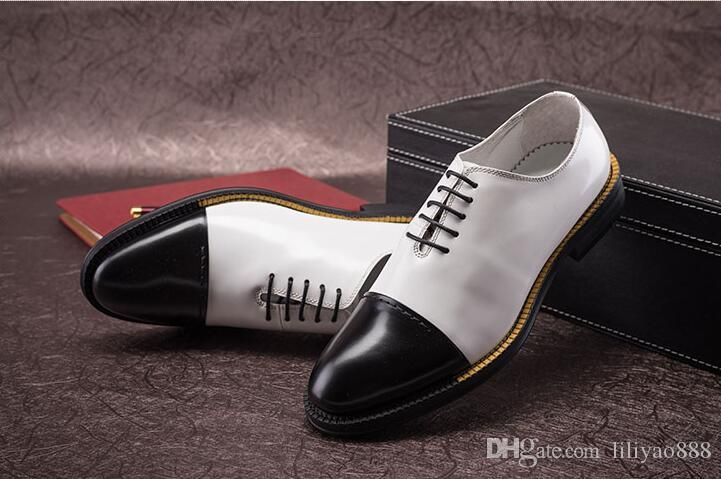 Hot Britishi Vintage Men's Oxfords Shoes Pointed Toes Mixed Color Dress Shoes Black and White Business Dress Shoes Casual High quality
