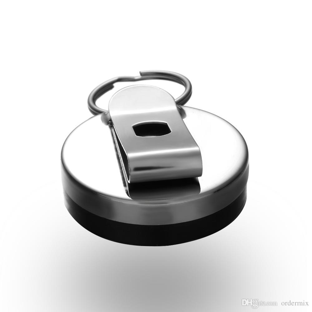 Tarjeta de Metal simple Insignia Titular de la llave Anillo de Retorno de Cinturón de Acero Inoxidable Clip Pull Pull Llavero Retráctil Llavero de Coche