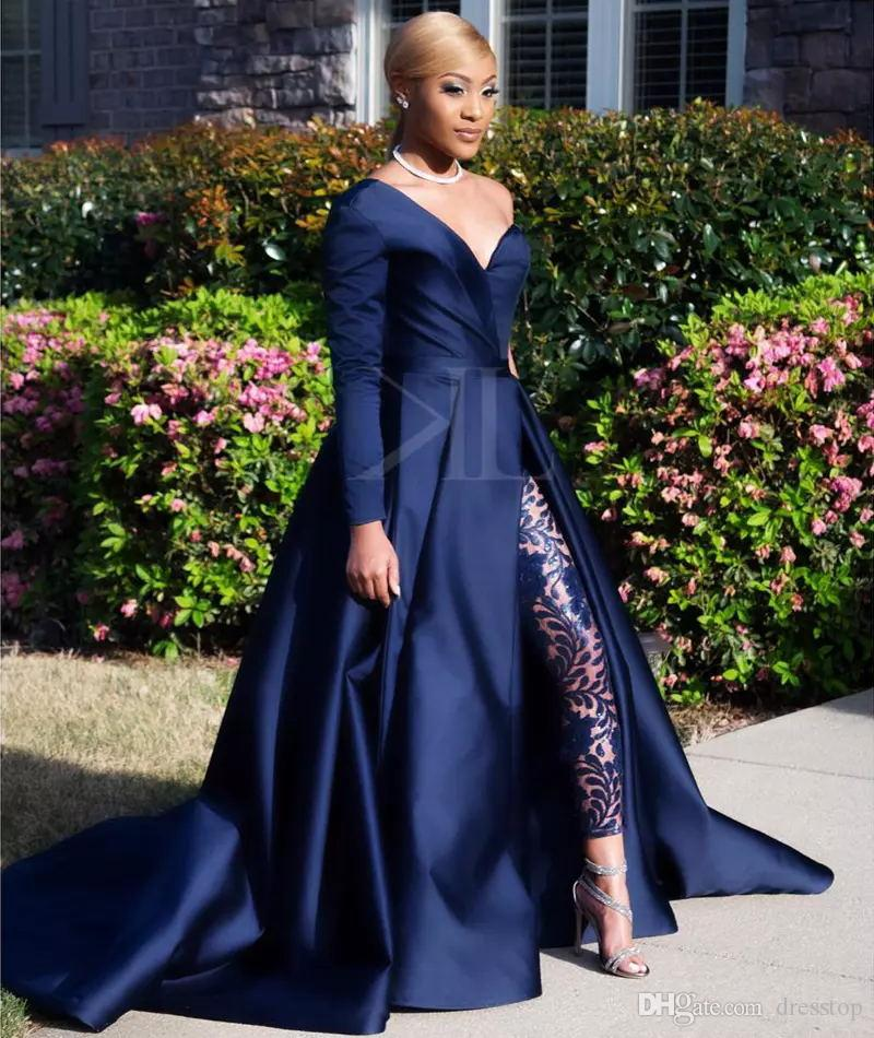 Navy Blue 2018 Evening Dresses Sexy One Shoulder Sleeve Jumpsuit Evening Gowns Soft Satin Court Train Prom Party Gowns
