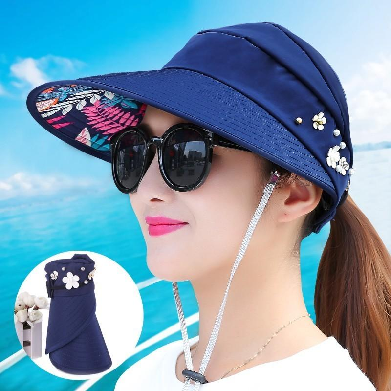 e3366ead 2018 New Simple Women Summer Beach Sun Hats Pearl Packable Sun Visor Hat  With Big Heads Wide Brim UV Protection Female Cap Easter Hats Fur Hats From  ...