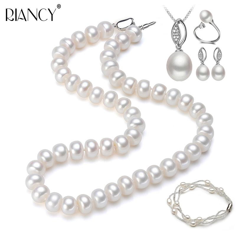 1a8e5f63bb6de 2019 Fashion Natural Freshwater 925 Sterling Silver Pearl Necklace Jewelry  Set Women Magnet Bracelet Earring Wedding Anniversary Gift From Buafy