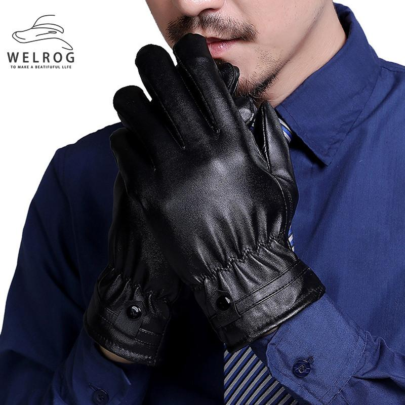 WELROG PU Leather Gloves Men Black Leather Winter Outdoor Gloves Casual New Male Thicken Full Fingers Ski