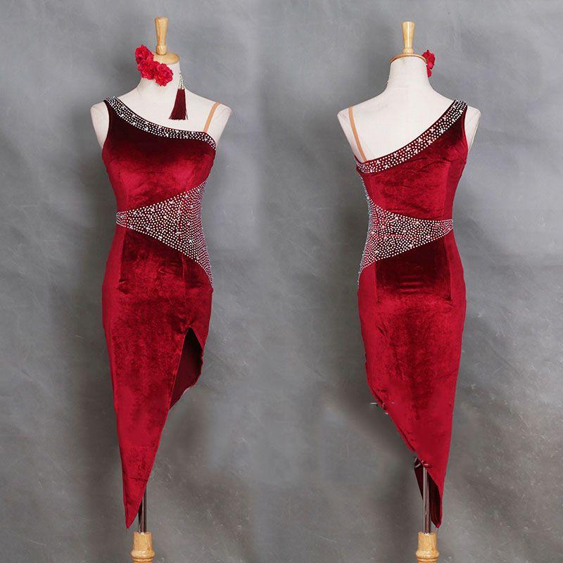Profession Latin Dance Dress Women Korean Velvet Adult Samba Costume ... 8e01b9572232