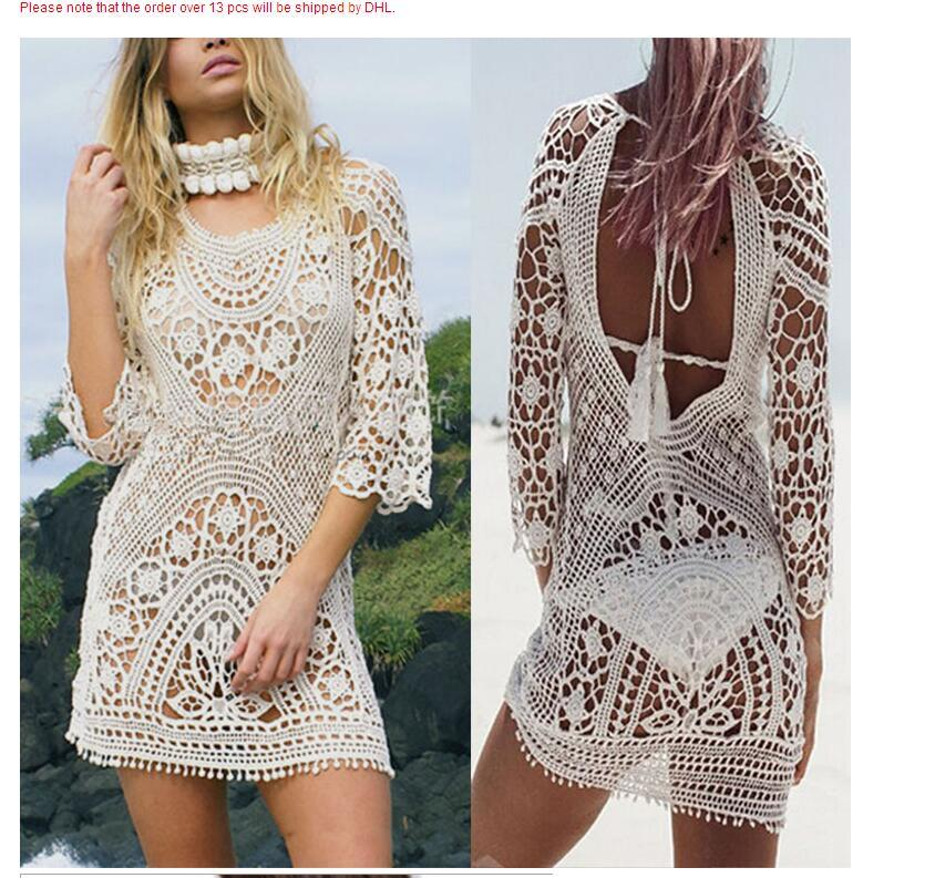 a942d031cf 2018 Summer Women Bathing Suit Lace Crochet Bikini Cover Up Swimwear Summer Beach  Dress White Boho Sexy Hollow Knit Swimsuit Casual Dresses Womens Black ...