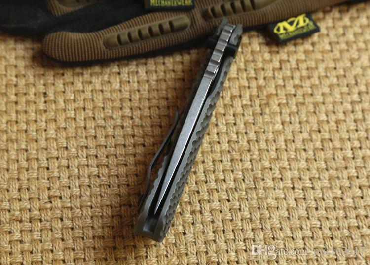 ST en plein air SMF dossier Titanium poignée D2 lame Rondelles en cuivre Couteau pliant tactique caça sobrevivência Facas EDC auto-defesa Ferrament