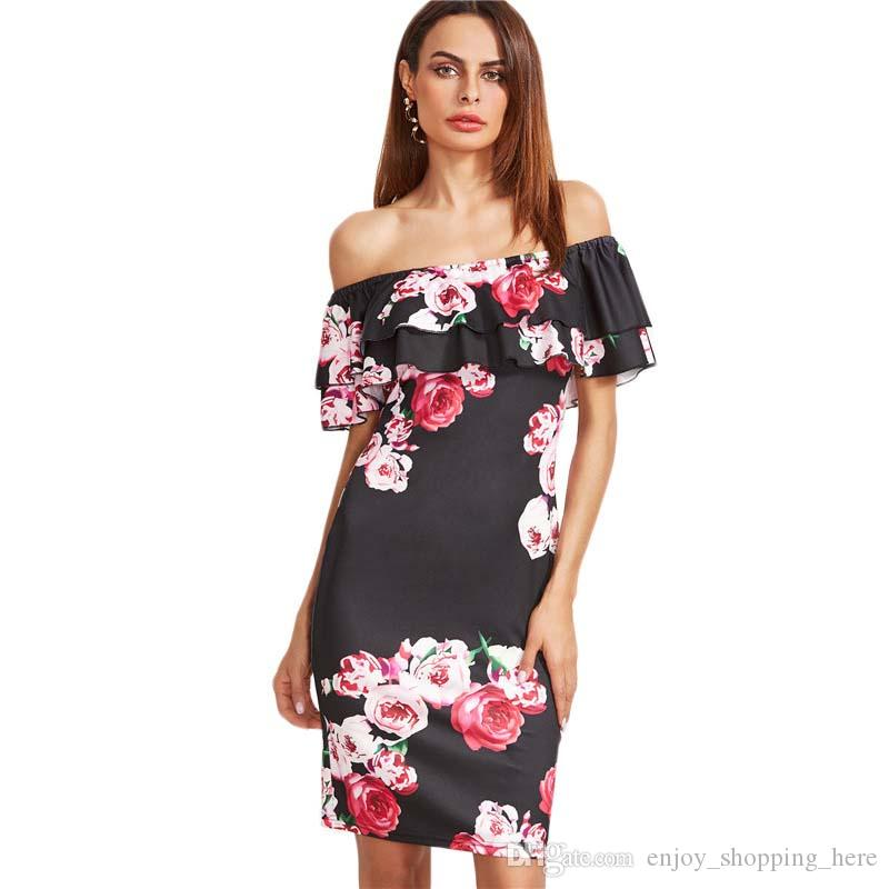 Bodycon robes femmes hors feuilles manches à volants épaule grandes fleurs imprimer robes de soirée sexy de mode pour dames filles