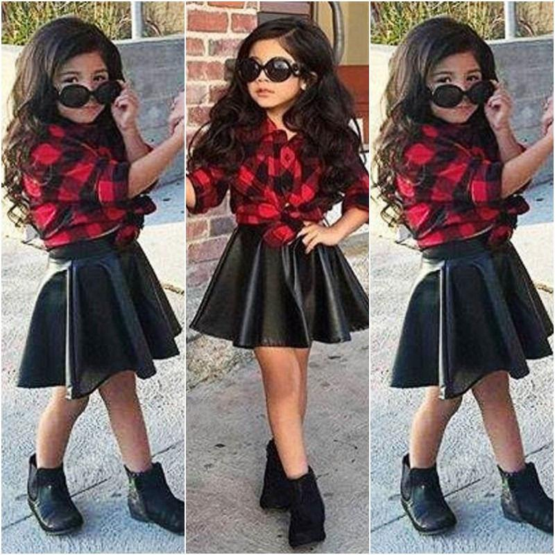 7599c138 2019 Infant Toddler Kid Baby Girls Clothes Princess Plaid Tops Shirt  Leather Skirt Fashion Outfits From Singnice, $37.17 | DHgate.Com