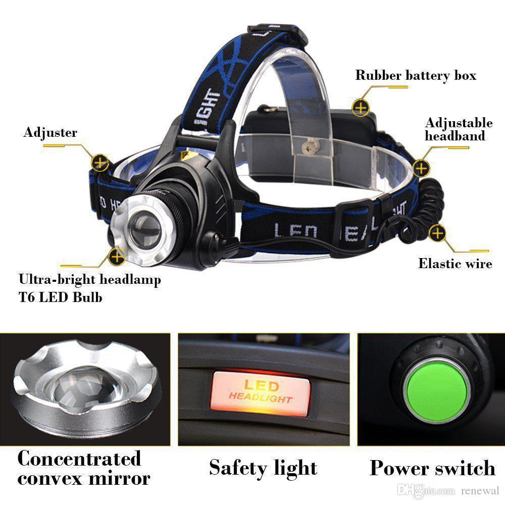 Lampe frontale rechargeable Led CREE XMLT6 5000Lumens Zoom Lampe frontale lampe torche LED Lampe frontale + 18650 Batterie Phare Lampe de poche Lanterne Pêche de nuit