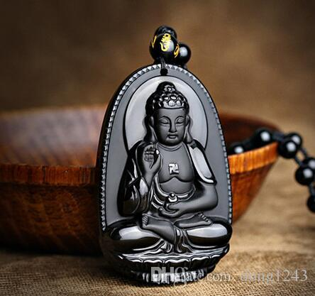 Natural A cargo obsidian Amitabha Buddha pendants Male and female models of  the Chinese zodiac are dog patrons