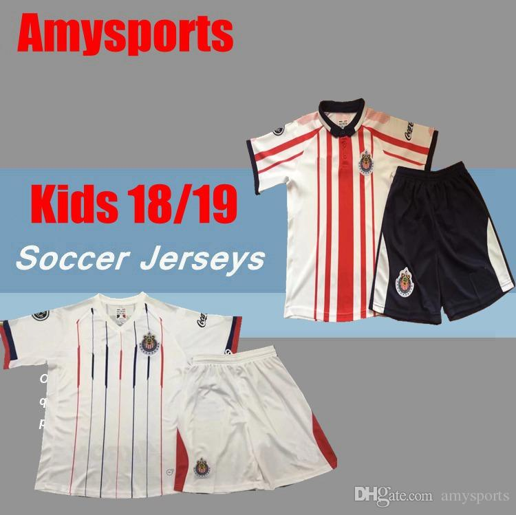 066ea92f61b 2019 18 19 Kids Kit Chivas De Guadalajara Soccer Jerseys 9 A.PULIDO 10  LOPEZ 14 A.ZALDIVAR VAZQUEZ Custom Home Away Youth Boy Football Shirt From  Amysports