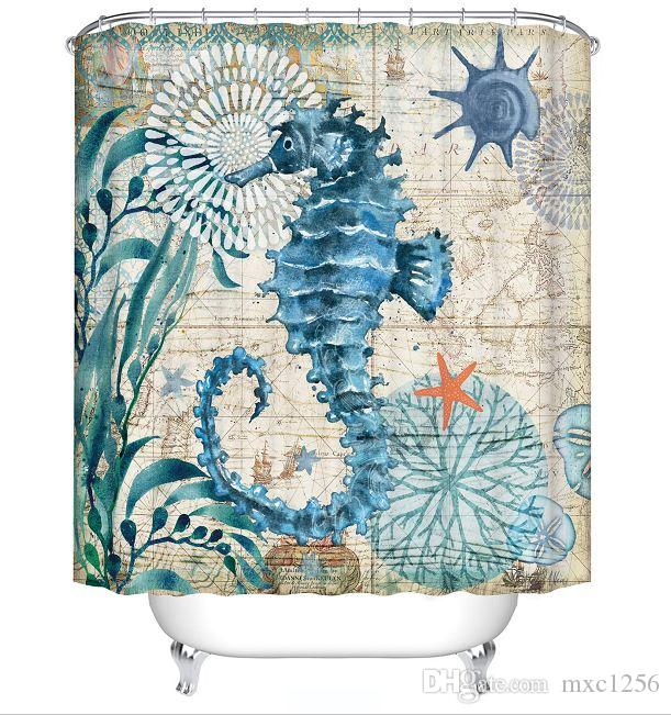 2019 Marine Animal Octopus Turtle Seahorse Shower Curtain Bathroom Cartoon CurtainsFabric CurtainThin CurtainWaterproof180cm 71IN From Mxc1256
