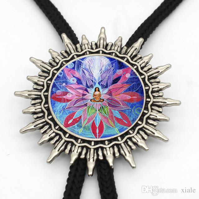 New Arrival Mandala Flower Vintage Bolo Tie Steampunk Glass Dome kaleidoscope Flower Bolo Tie for Women BL-0027