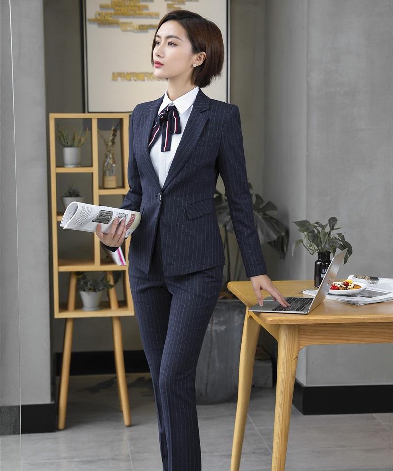 Compre Trajes De Pantalón Formales Para Mujeres Trajes De Negocios Chaqueta  Y Chaquetas De Mujer Conjunto Ropa De Trabajo Uniforme De Oficina Diseños  ... e3e53b4a9e1d
