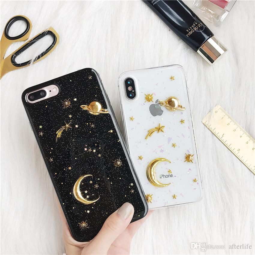 best service 39fe4 9b40b Space Saturn Moon Phone Cases For iPhone 7 6 6s 8 Plus X Case Gold Airship  Stars Bling Glitter Universe Series Cover Coque