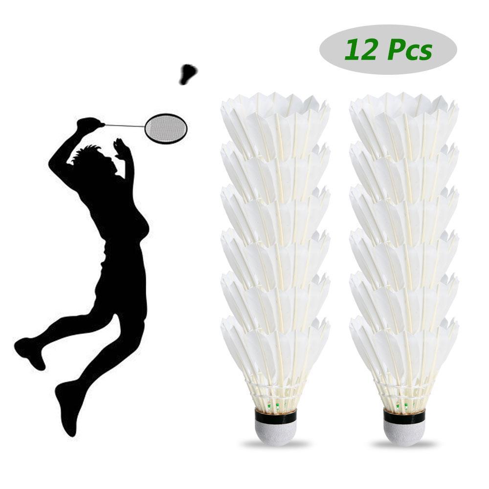 Badminton 12pcs weiße Feder Badminton Ball langlebige Shuttlecocks Outdoor-Trainingsspiel