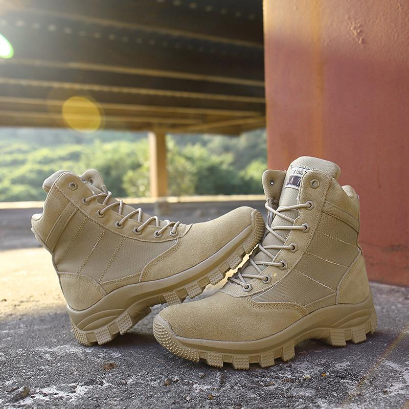 d545566b751 Men High Top Waterproof Hiking Boots Combat Shoes Cow Leather Suede  Athletic Trekking Sports Snow Boots Outdoor Sneakers 45 White Boots Black  Boots For ...