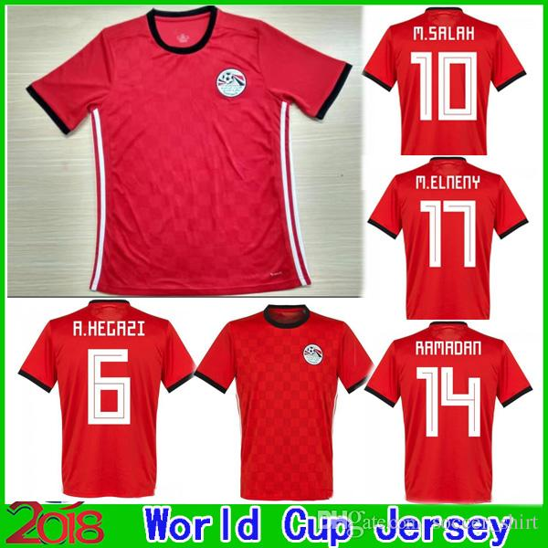 70f36d2a5 2019 2018 World Cup Egypt Home Red Soccer Jersey Top Thai Quality 18 19  Egypt M. SALAH KAHRABA Ramadan ElNenny Football Shirt From Soccer shirt