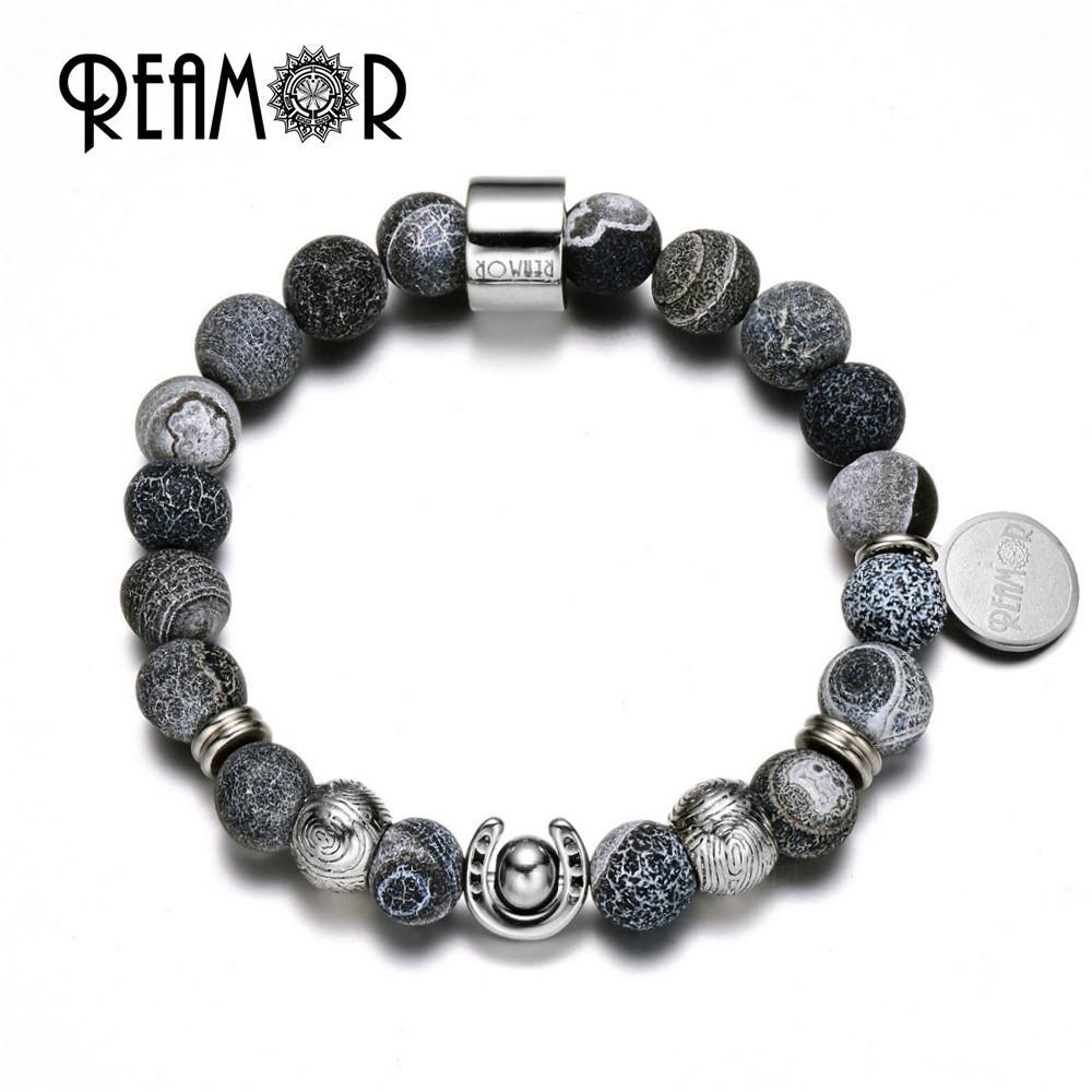 b631b2911491 Compre Reamor Acero Inoxidable Lucky Horsesshoe Beads Partido Natural  Wheathring Negro Onyx Strand Beads Stretch Pulseras Para Hombres Joyas A   32.0 Del ...