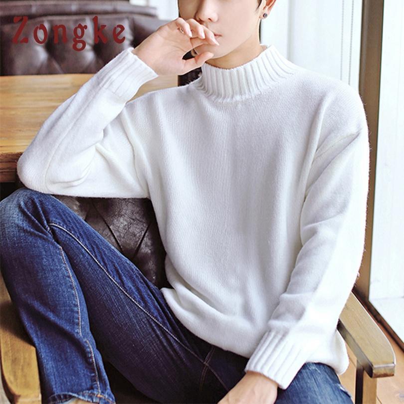 443674d76a762 Compre Zongke Branco Camisola De Gola Alta Homens Pulôver De Malha Camisola  Homens Homens Tartaruga Pescoço Camisolas Dos Homens 2018 Homem Inverno  Coreano ...