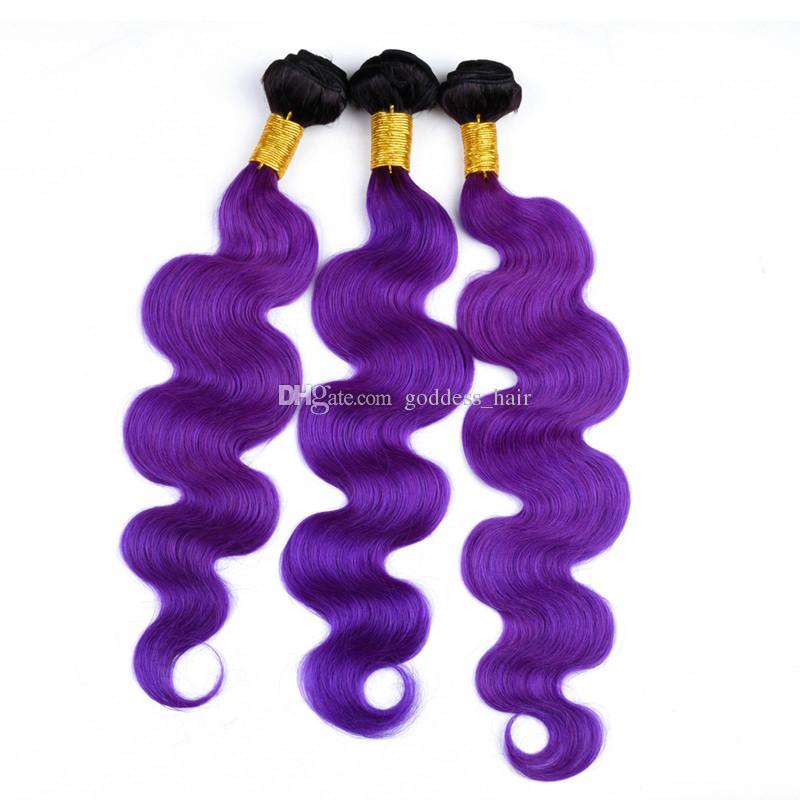 Pelo de la onda del cuerpo de dos colores 3Bundles con cierre de encaje 1B Cierre de encaje de color púrpura con extensiones de cabello brasileño de la Virgen /